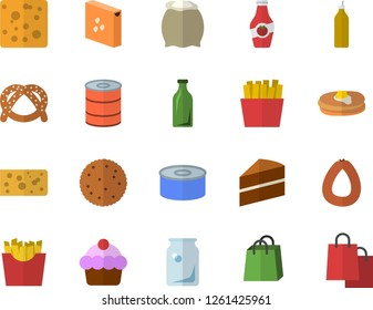 Color flat icon set cake flat vector, flour, groats, biscuit, pancakes, bagel, sausage, cheese, canned food, French fries, mustard, ketchup, glass bottles, bags