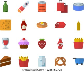 Color flat icon set cake flat vector, ketchup, pancakes, bagel, sausage, cheese, canned food, French fries, wine, Strawberry, mustard, glass bottles, rocket, bags, grocery trolley fector
