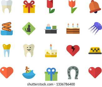 Color flat icon set cake flat vector, horseshoe, tulip, present, heart, tooth, dental crowns, office worker, surfing fector, aquapark, pets allowed, taxi, jellyfish, bell