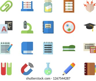 Color flat icon set calculator flat vector, magnet, microscope, medical analysis, notebook, abacus, book, stapler, flask, notepad, pencil, bachelor cap, brainstorm, Petri dish, translate, clip
