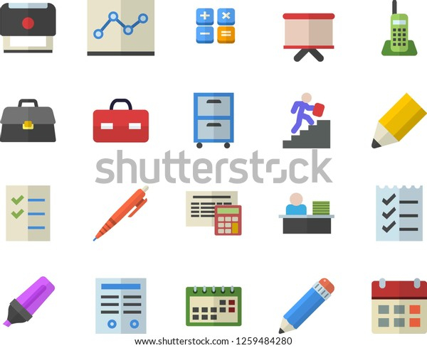 Color Flat Icon Set Calculator Flat Stock Vector Royalty Free 1259484280