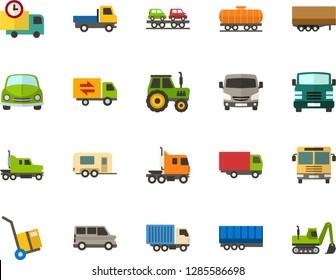 Color Flat Icon Set - car flat vector, auto delivery, trolley, lorry, trucking industry, minibus, open van, motorhome, semi trailer, truck cab, freight train, carrier, bus front view, tractor