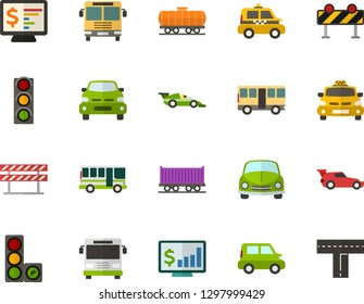 Color Flat Icon Set - car flat vector, monitor statistic, passenger, taxi, bus, racing, freight train, machine front view, traffic lights, road barrier, crossroad