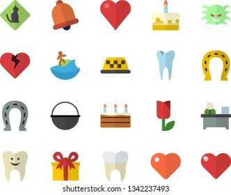 Color flat icon set cauldron flat vector, cake, horseshoe, tulip, present, heart, virus, tooth, caries, dental crowns, office worker, surfing fector, pets allowed, taxi, bell