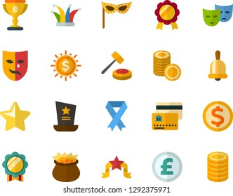 Color Flat Icon Set - cemetery flat vector, masquerade mask, leprechauns, veterans day, memorial, school bell, winner's cup, medal, star, coins, credit card, auction, pound sterling