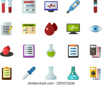 Color Flat Icon Set - checklist flat vector, exam, flask, write file, schedule, eye, blood test, digital thermometer, pipette, drop of, electrocardiogram, multimeter