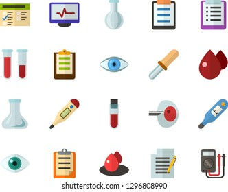 Color Flat Icon Set - checklist flat vector, clipboard, exam, write file, schedule, eye, blood test, flask, digital thermometer, ivf, pipette, drop of, electrocardiogram, multimeter