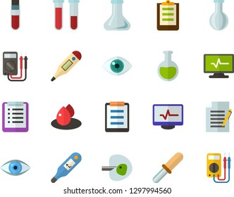 Color Flat Icon Set - checklist flat vector, flask, write file, schedule, eye, blood test, digital thermometer, ivf, pipette, drop of, electrocardiogram, multimeter