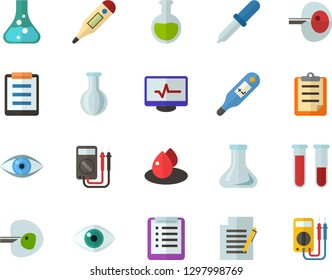 Color Flat Icon Set - checklist flat vector, clipboard, flask, write file, schedule, eye, blood test, digital thermometer, ivf, pipette, drop of, electrocardiogram, multimeter