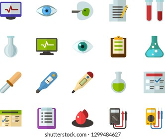 Color Flat Icon Set - checklist flat vector, exam, flask, write file, schedule, eye, blood test, digital thermometer, ivf, pipette, drop of, electrocardiogram, multimeter