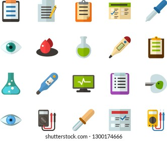 Color Flat Icon Set - checklist flat vector, clipboard, exam, flask, write file, schedule, eye, digital thermometer, ivf, pipette, drop of blood, electrocardiogram, multimeter