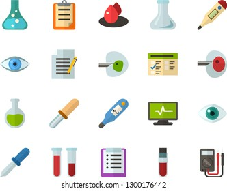 Color Flat Icon Set - checklist flat vector, clipboard, exam, flask, write file, eye, blood test, digital thermometer, ivf, pipette, drop of, electrocardiogram, multimeter