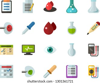Color Flat Icon Set - checklist flat vector, exam, flask, write file, schedule, eye, digital thermometer, ivf, pipette, drop of blood, electrocardiogram, multimeter
