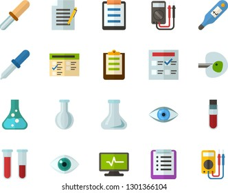 Color Flat Icon Set - checklist flat vector, exam, flask, write file, schedule, eye, blood test, digital thermometer, ivf, pipette, electrocardiogram, multimeter