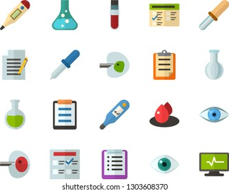 Color Flat Icon Set - checklist flat vector, clipboard, exam, flask, write file, schedule, eye, blood test, digital thermometer, ivf, pipette, drop of, electrocardiogram