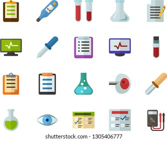 Color Flat Icon Set - checklist flat vector, clipboard, exam, flask, write file, schedule, eye, blood test, digital thermometer, ivf, pipette, electrocardiogram, multimeter