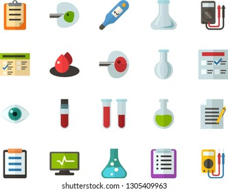 Color Flat Icon Set - checklist flat vector, clipboard, exam, flask, write file, schedule, eye, blood test, digital thermometer, ivf, drop of, electrocardiogram, multimeter