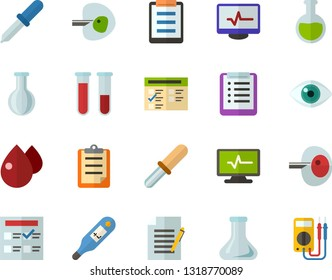 Color Flat Icon Set - checklist flat vector, clipboard, exam, flask, write file, schedule, eye, blood test, digital thermometer, ivf, pipette, drop of, electrocardiogram, multimeter