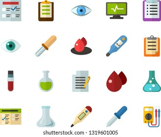 Color Flat Icon Set - checklist flat vector, clipboard, exam, flask, write file, schedule, eye, blood test, digital thermometer, pipette, drop of, electrocardiogram, multimeter