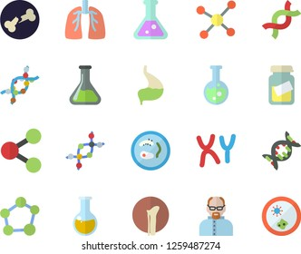 Color flat icon set chemistry flat vector, molecules, medical analysis, DNA, chromosomes, bone fracture, stomach, lungs, flask, molecule, scientist, Petri dish
