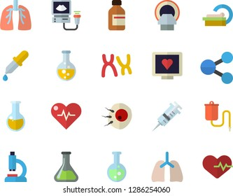 Color flat icon set chemistry flat vector, molecules, vial, medical warmer, pipette, syringe, computer diagnostics of health, microscope, analysis, ultrasound, tomograph, chromosomes, lungs, flask