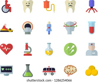 Color flat icon set chemistry flat vector, medical warmer, blood test, computer diagnostics of health, disabled, physician, virus, massage, headache, ambulance, tomograph, gestation, sperm, tooth