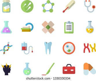 Color flat icon set chemistry flat vector, blood transfusion, stethoscope, briefcase, medical analysis, headache, patch, tomograph, scalpel, DNA, chromosomes, sperm, caries, flask, molecule, pills