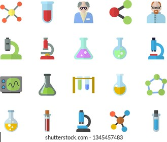 Color flat icon set chemistry flat vector, molecules, blood test, microscope, medical analysis, flask, molecule, oscilloscope, scientist, beakers