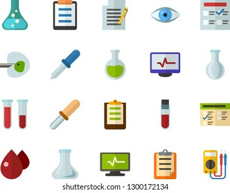 Color Flat Icon Set - clipboard flat vector, exam, flask, write file, schedule, eye, blood test, ivf, pipette, drop of, electrocardiogram, multimeter
