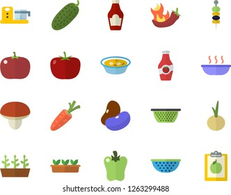 Color flat icon set colander flat vector, food processor, mushroom, tomato, ketchup, legumes, soup, onion, bell pepper, hot peppers, cucumber, canape, carrot, seedlings, diet