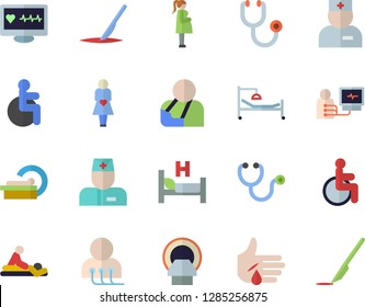 Color flat icon set computer diagnostics of health flat vector, disabled, physician, stethoscope, hospital bed, massage, injury, tomograph, gestation, scalpel