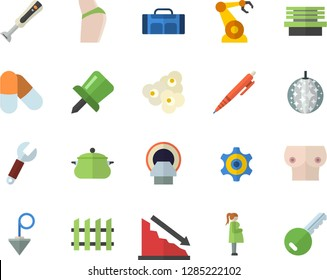 Color flat icon set construction plummet flat vector, fence, saucepan, blender, popcorn, bench, robotics, wrench, cogwheel, crisis, tomograph, gestation, breast, drawing pin, pen, buttocks, pills