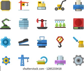Color flat icon set crane flat vector, hook, cogwheel, weighing machine, turk, sprinkling, lawn mower, oil pumping, robotics, cash, tomograph, printer, copy, stapler, cpu