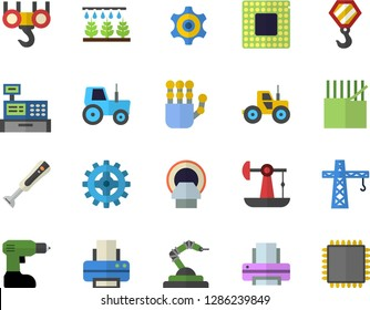 Color flat icon set crane flat vector, hook, drill screwdriver, blender, tractor, sprinkling machine, oil pumping, cogwheel, fabric manufacture, robotics, cash, tomograph, printer, robot hand, cpu