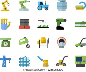 Color flat icon set crane flat vector, concrete mixer, drill screwdriver, weighing machine, turk, double boiler, tractor, sprinkling, lawn mower, fabric manufacture, tomograph, copy, stapler