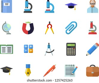 Color flat icon set dividers flat vector, calculator, microscope, clip, ink pen, pencil, notepad, globe, bachelor cap, magnet, notebook, scientist, book, briefcase
