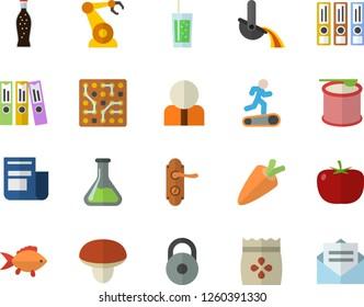 Color flat icon set door lock flat vector, mushroom, tomato, fish, carrot, lemonade, soda, seeds, chemistry, robotics, metallurgy, person, news, folder, electronic circuit, folders for papers