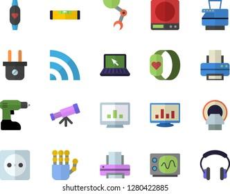 Color flat icon set drill screwdriver flat vector, level meter, weighing machine, socket, plug, tomograph, computer chart, printer, copy, laptop, robot hand, oscilloscope, telescope, broadcast
