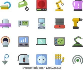 Color flat icon set drill screwdriver flat vector, sockets, construction plummet, weighing machine, electric kettle, mixer, double boiler, robotics, tomograph, printer, laptop, robot hand, computer