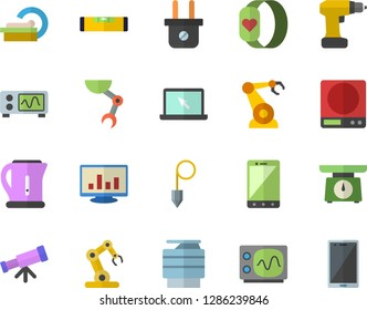 Color flat icon set drill screwdriver flat vector, level meter, construction plummet, weighing machine, electric kettle, plug socket, robotics, tomograph, computer chart, copy, laptop, robot hand