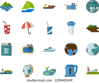 Color Flat Icon Set - Earth flat vector, umbrella, globe, soda, pond, pool, lake, dishwasher, electric kettle, water filter, sailboat, scooter, cargo ship, hovercraft