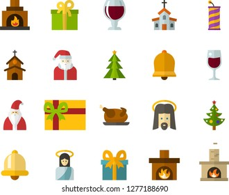 Color Flat Icon Set - Easter bell flat vector, church, Jesus, Santa Claus, Christmas tree, crackers, present, chicken, glass of wine, gift, fireplace
