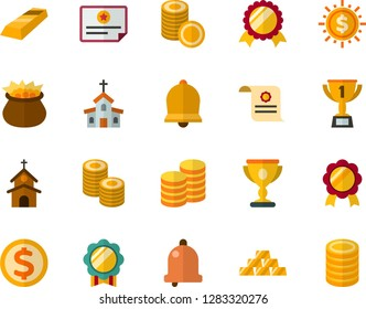 Color Flat Icon Set - Easter bell flat vector, church, leprechauns, winner's cup, medal, charter, coins, gold bars