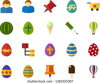 Color Flat Icon Set - Easter egg flat vector, pushpin, person, remove frome basket, hierarchy, ice cream, sundae, watermelon, screwdriver, air balloon