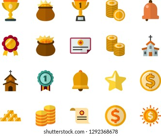 Color Flat Icon Set - Easter bell flat vector, church, leprechauns, winner's cup, medal, charter, star, coins, gold bars