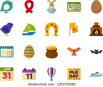 Color Flat Icon Set - easter bunny flat vector, egg, butterfly holiday, martin luther king day, leprechauns, horseshoe, birds, memorial, bat, schedule, flag, calendar, fireplace, air balloon
