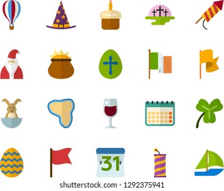 Color Flat Icon Set - easter bunny flat vector, egg, africa, cupcake, Irish Clover, leprechauns, flag, magic hat, Santa Claus, crackers, cemetery, glass of wine, calendar, air balloon, sailboat
