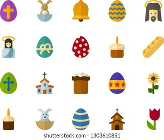 Color Flat Icon Set - easter bunny flat vector, egg, cupcake, holiday bread, bell, church, Jesus, flowers