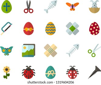 Color Flat Icon Set - easter bunny flat vector, egg, ladybug, butterfly holiday, flowers, fish skeleton, scissors, patch, photo landscape, hacksaw for metal, tapping screw