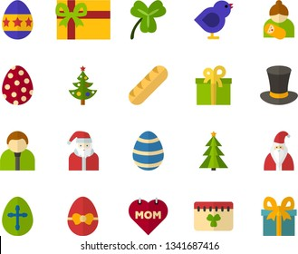 Color Flat Icon Set - Easter egg flat vector, holiday bread, cylinder hat, calendar, Irish Clover, birds, father's day, mothers, Santa Claus, Christmas tree, present, gift